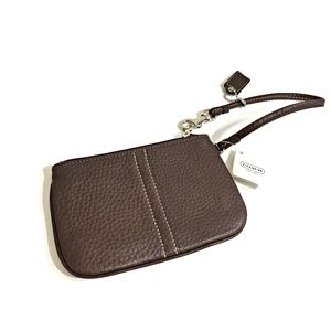 Coach Leather Wristlet Mahogany Brown NWT